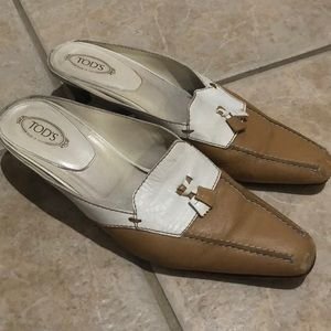 Tod's beige white leather low heels mules 9.5
